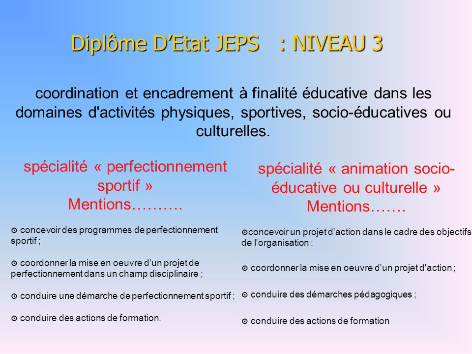 Diplôme D'Etat JEPS : NIVEAU 3