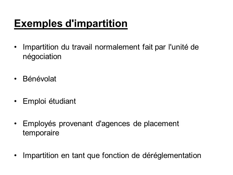 Exemples d impartition