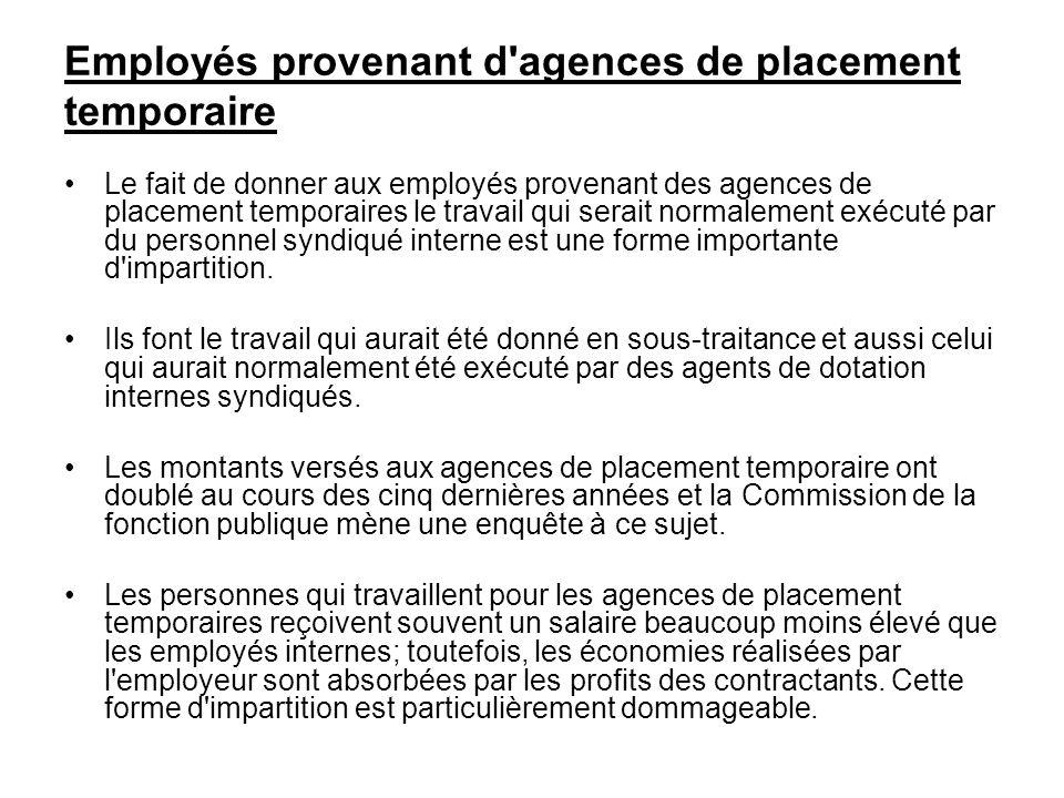 Employés provenant d agences de placement temporaire