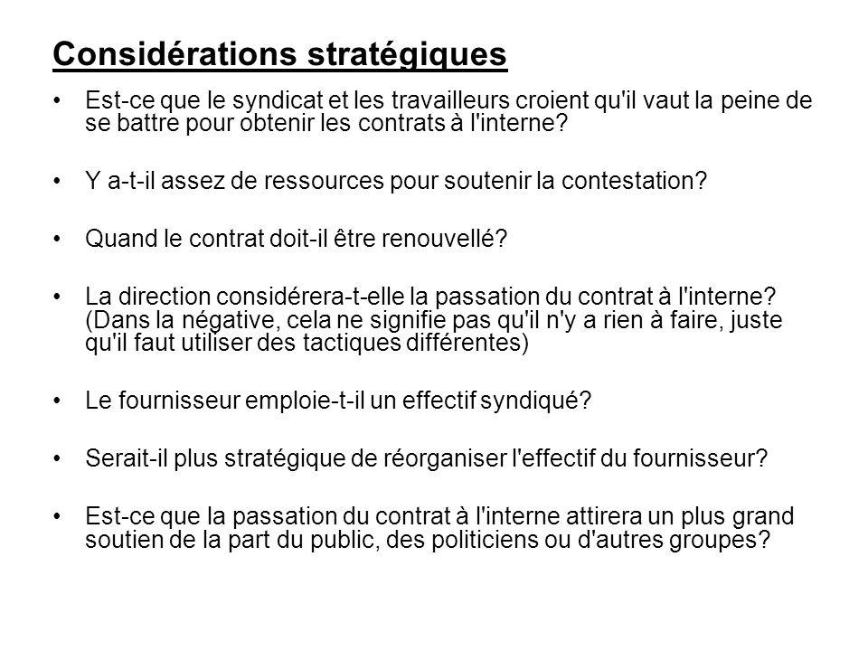 Considérations stratégiques
