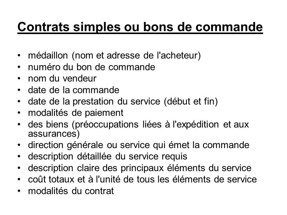 Contrats simples ou bons de commande