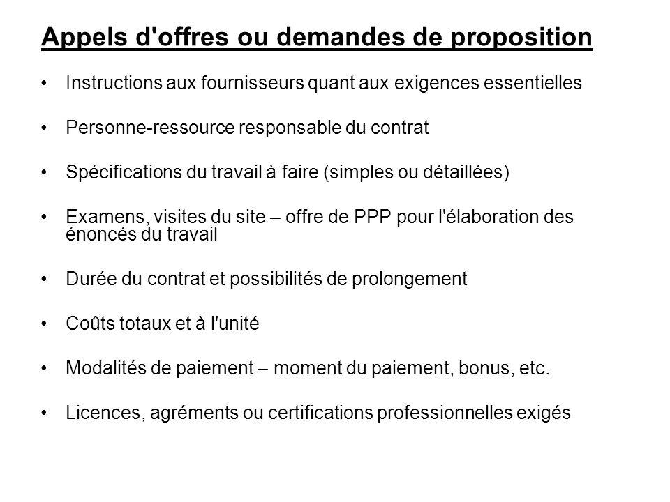 Appels d offres ou demandes de proposition