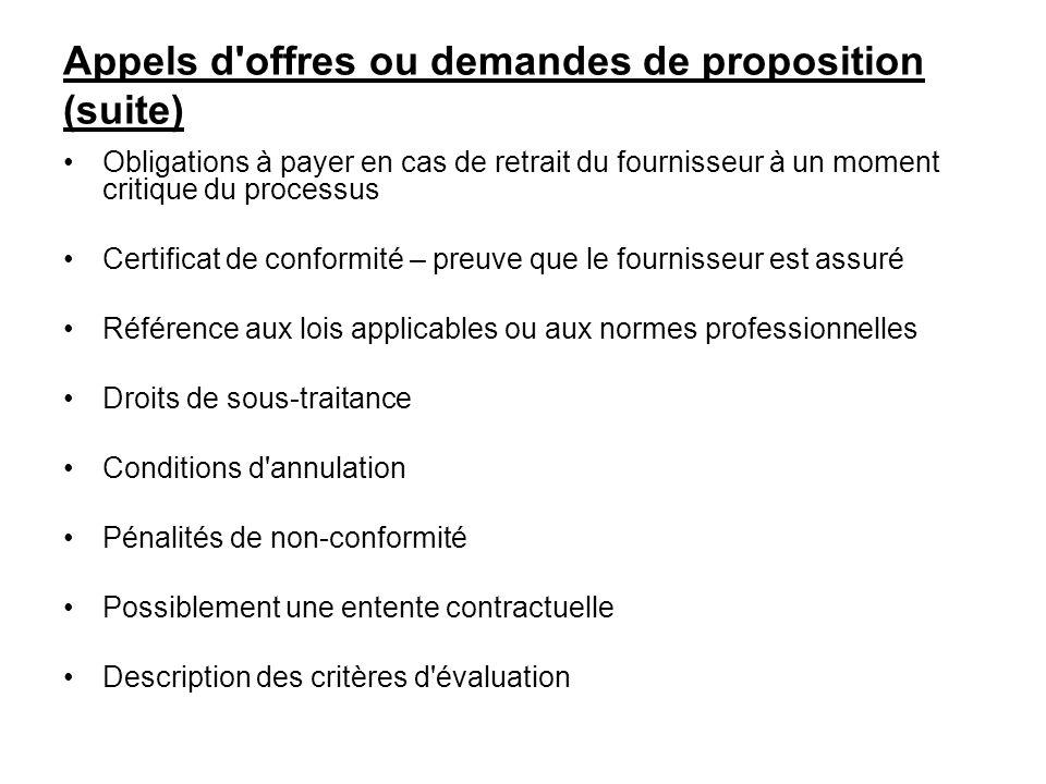 Appels d offres ou demandes de proposition (suite)