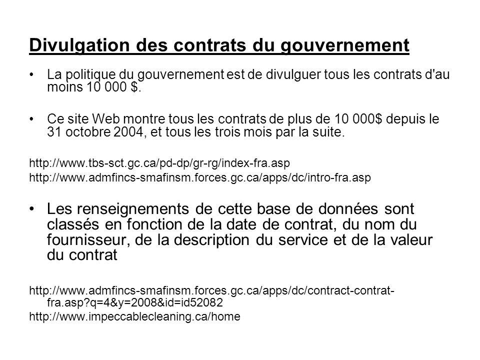 Divulgation des contrats du gouvernement