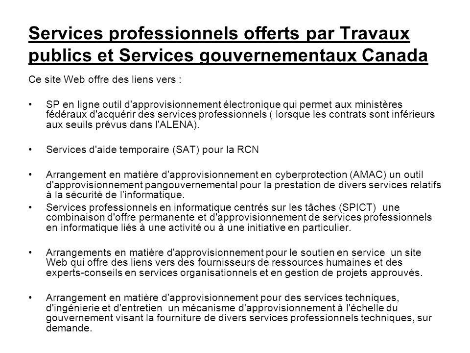 Services professionnels offerts par Travaux publics et Services gouvernementaux Canada