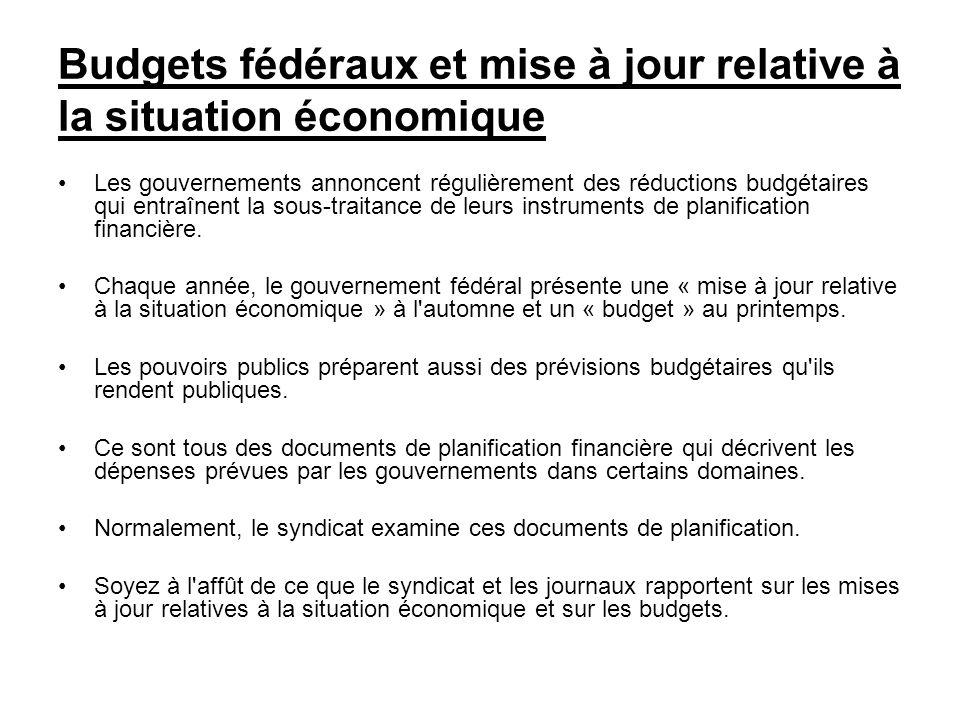 Budgets fédéraux et mise à jour relative à la situation économique