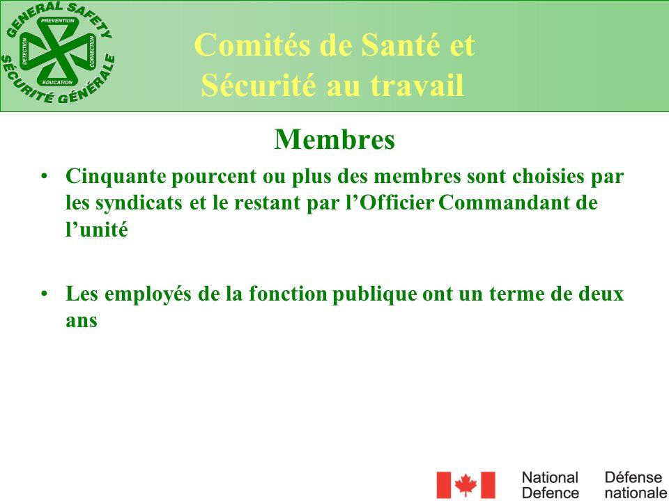 Comités de Santé et Sécurité au travail Membres