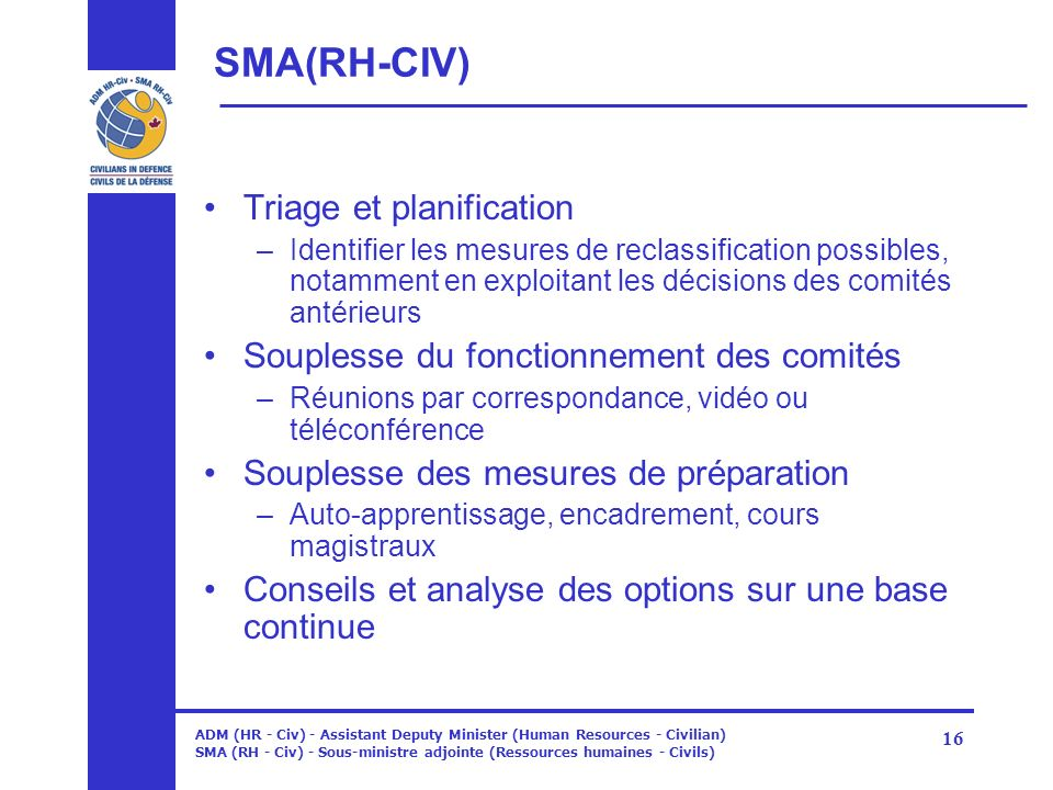 SMA(RH-CIV) Triage et planification
