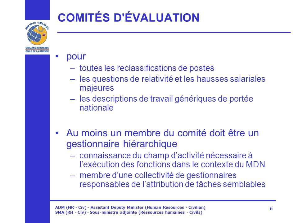 COMITÉS D ÉVALUATION pour