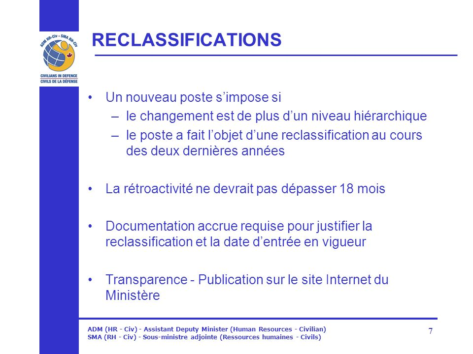 RECLASSIFICATIONS Un nouveau poste s'impose si