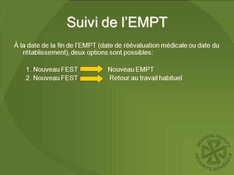 Suivi de l'EMPT À la date de la fin de l'EMPT (date de réévaluation médicale ou date du rétablissement), deux options sont possibles:
