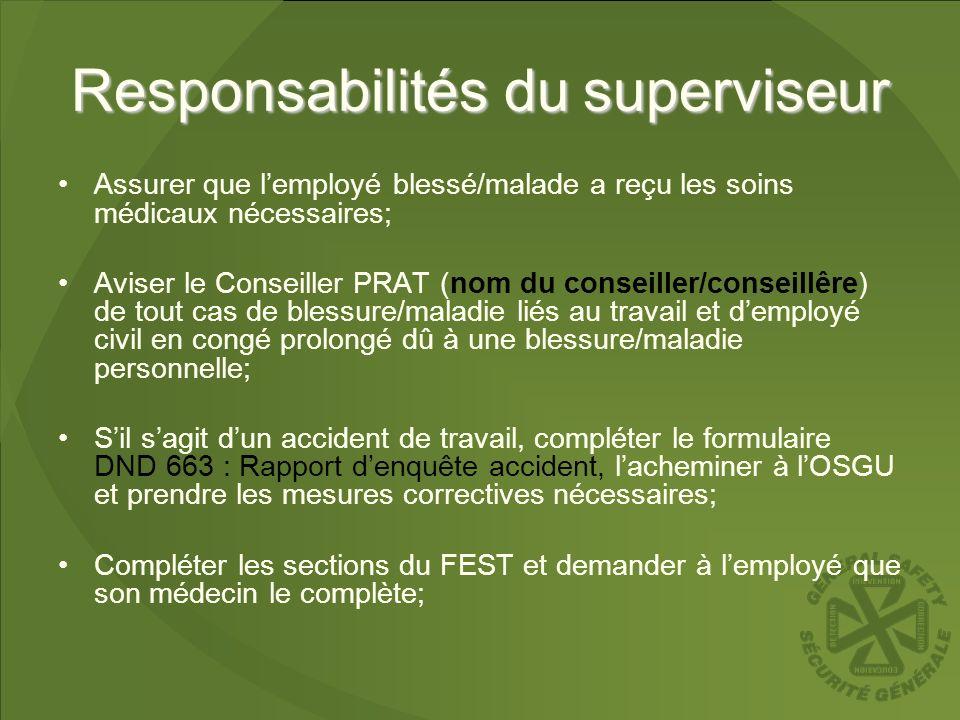 Responsabilités du superviseur