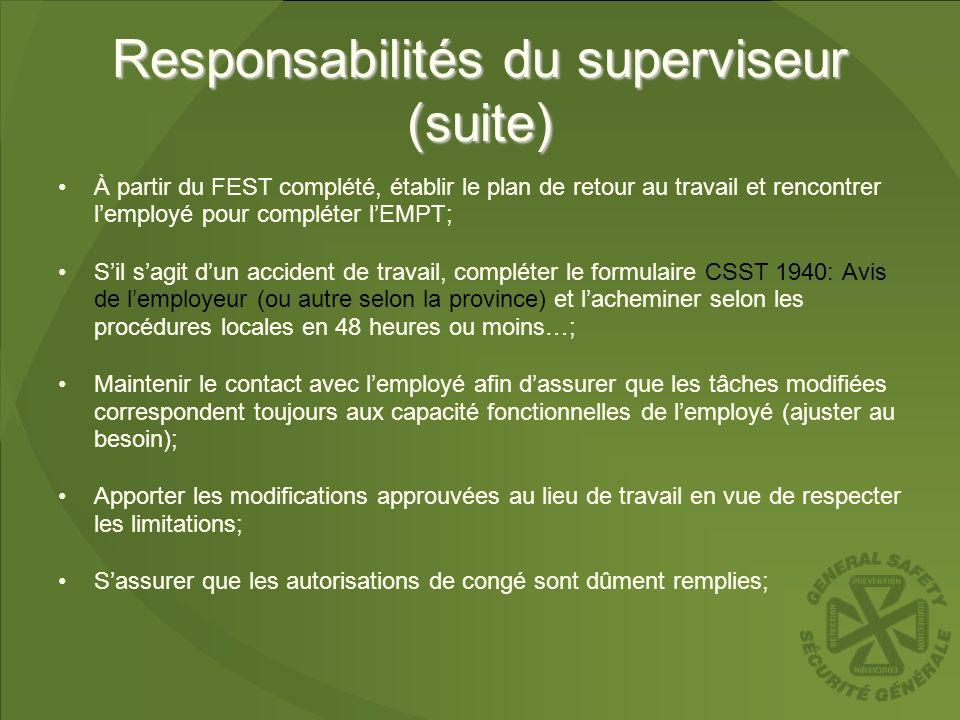 Responsabilités du superviseur (suite)