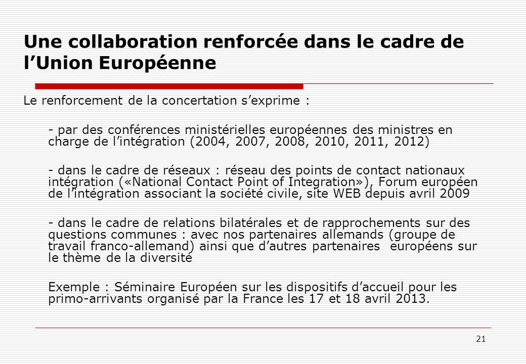 Une collaboration renforcée dans le cadre de l'Union Européenne