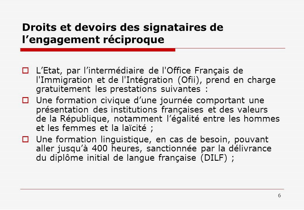 Droits et devoirs des signataires de l'engagement réciproque