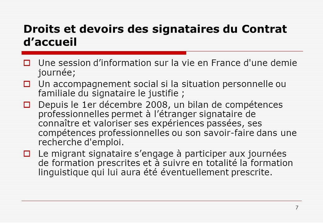 Droits et devoirs des signataires du Contrat d'accueil