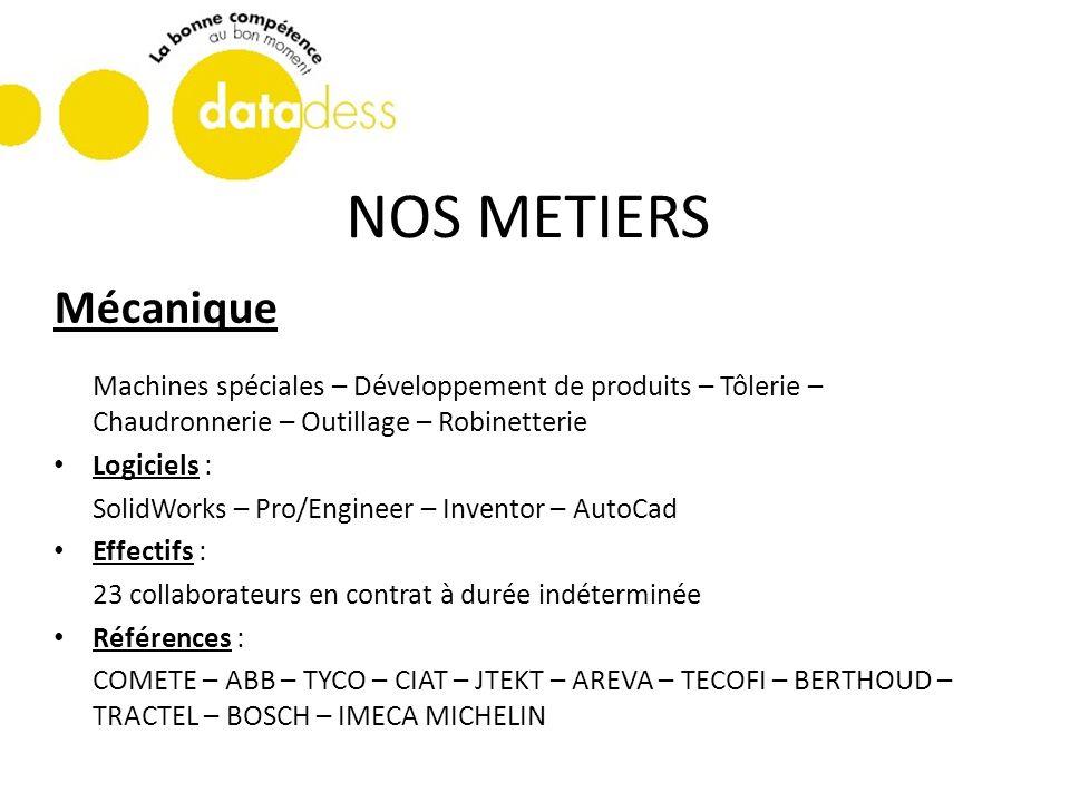 NOS METIERS Mécanique. Machines spéciales – Développement de produits – Tôlerie – Chaudronnerie – Outillage – Robinetterie.
