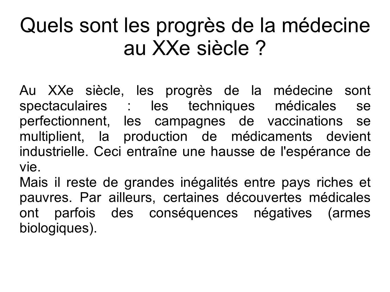 Quels sont les progrès de la médecine au XXe siècle