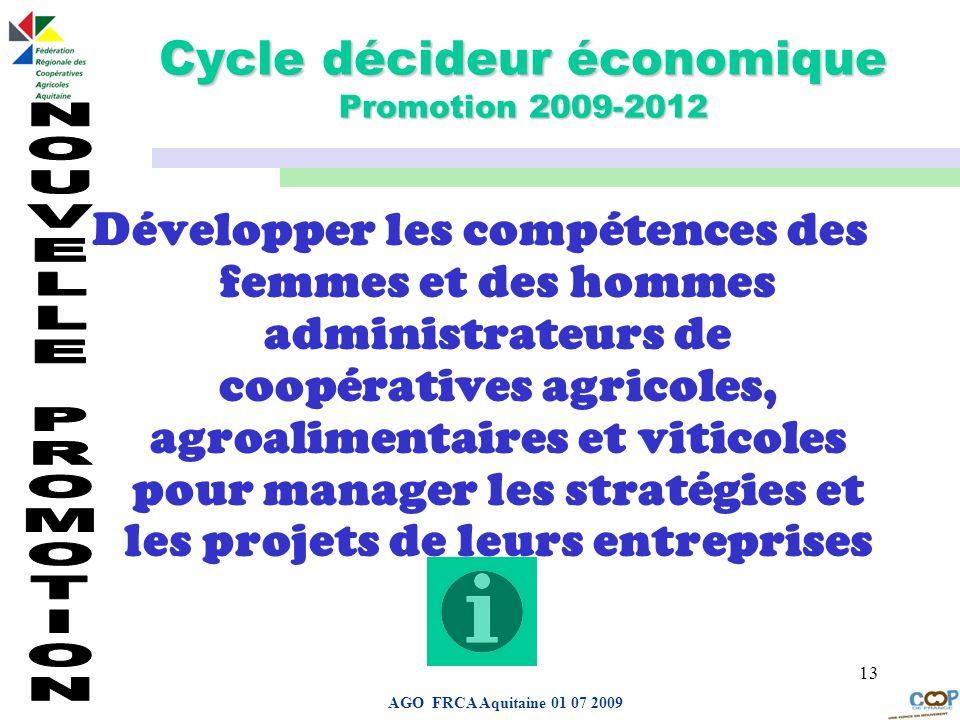Cycle décideur économique Promotion 2009-2012