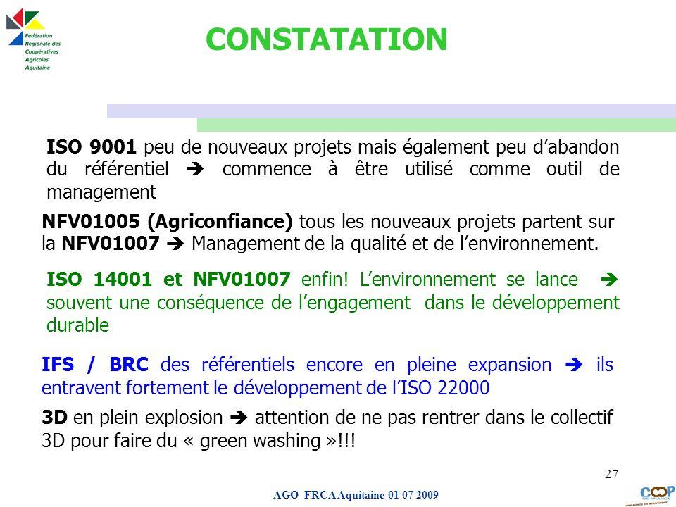 CONSTATATIONISO 9001 peu de nouveaux projets mais également peu d'abandon du référentiel  commence à être utilisé comme outil de management.