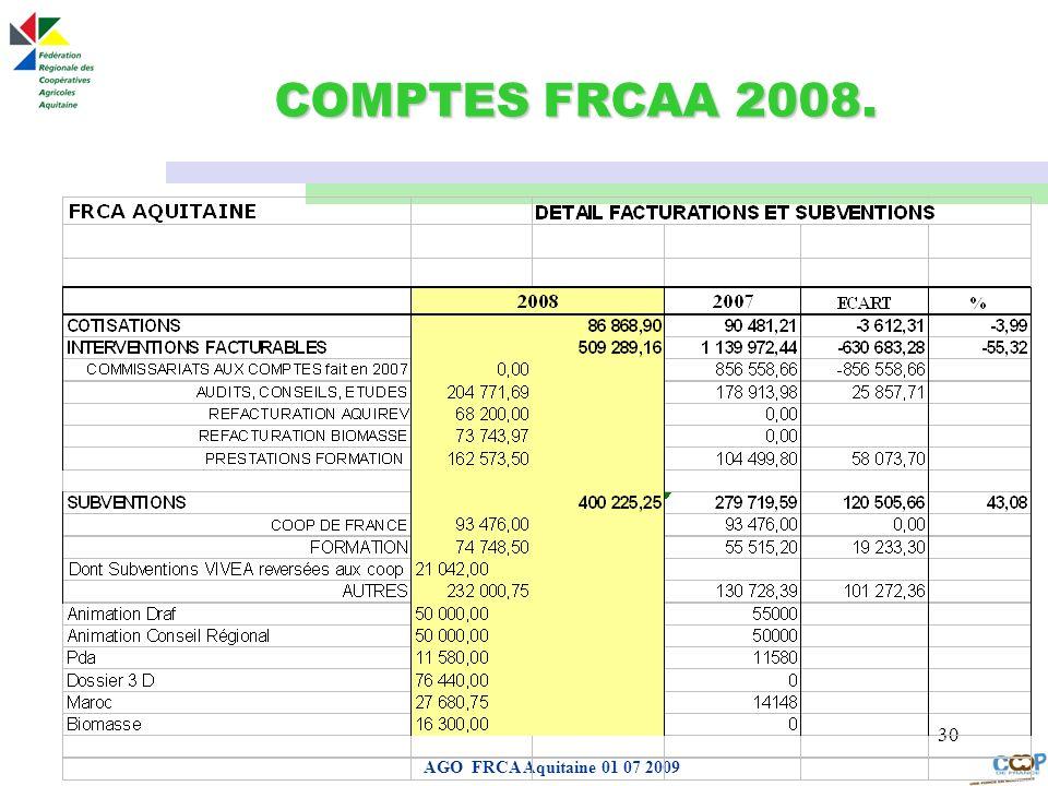 COMPTES FRCAA 2008. AGO FRCA Aquitaine 01 07 2009