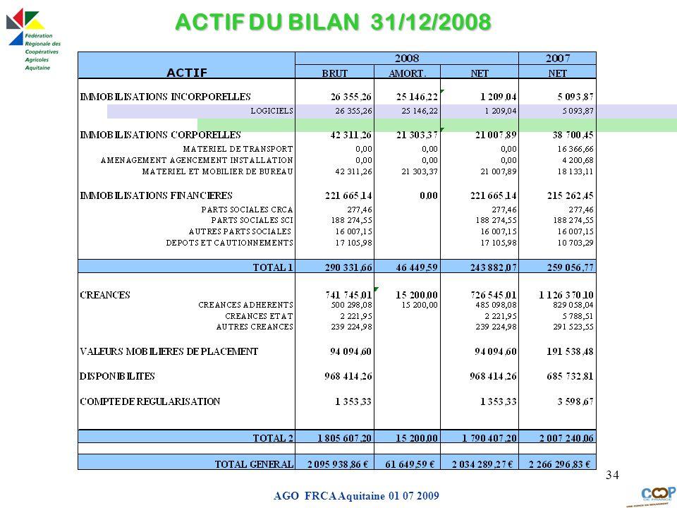 ACTIF DU BILAN 31/12/2008 AGO FRCA Aquitaine 01 07 2009