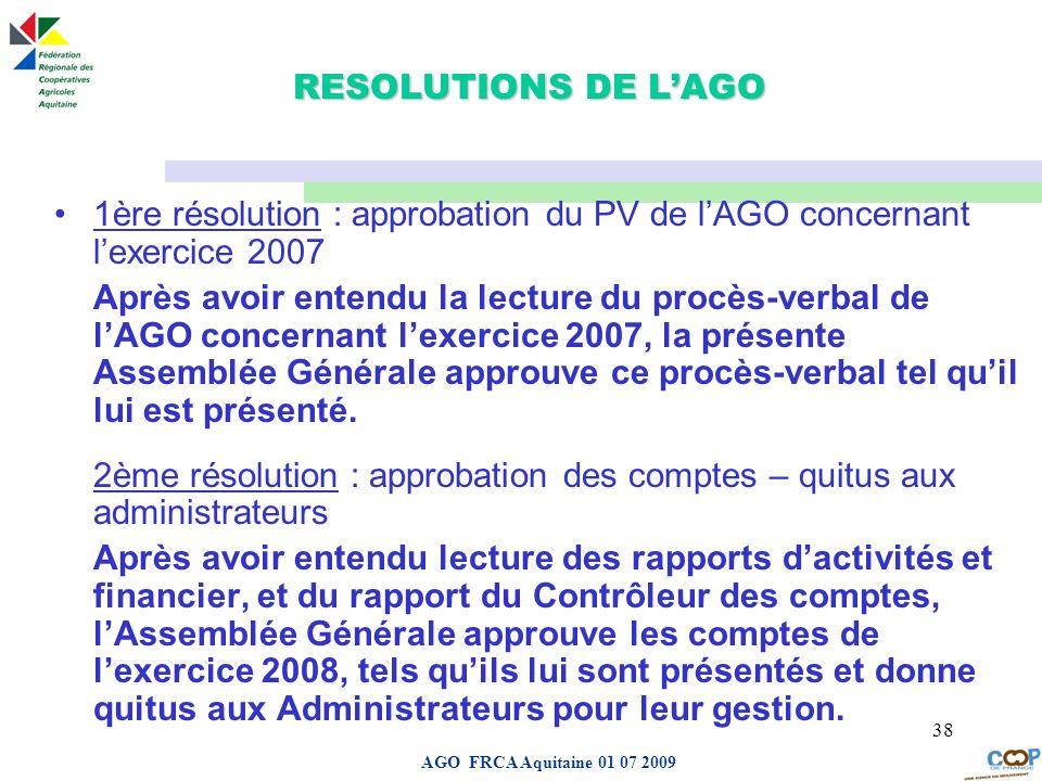 RESOLUTIONS DE L'AGO1ère résolution : approbation du PV de l'AGO concernant l'exercice 2007.