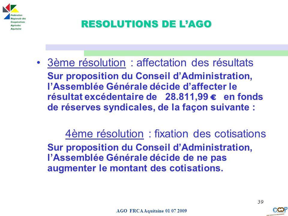 3ème résolution : affectation des résultats