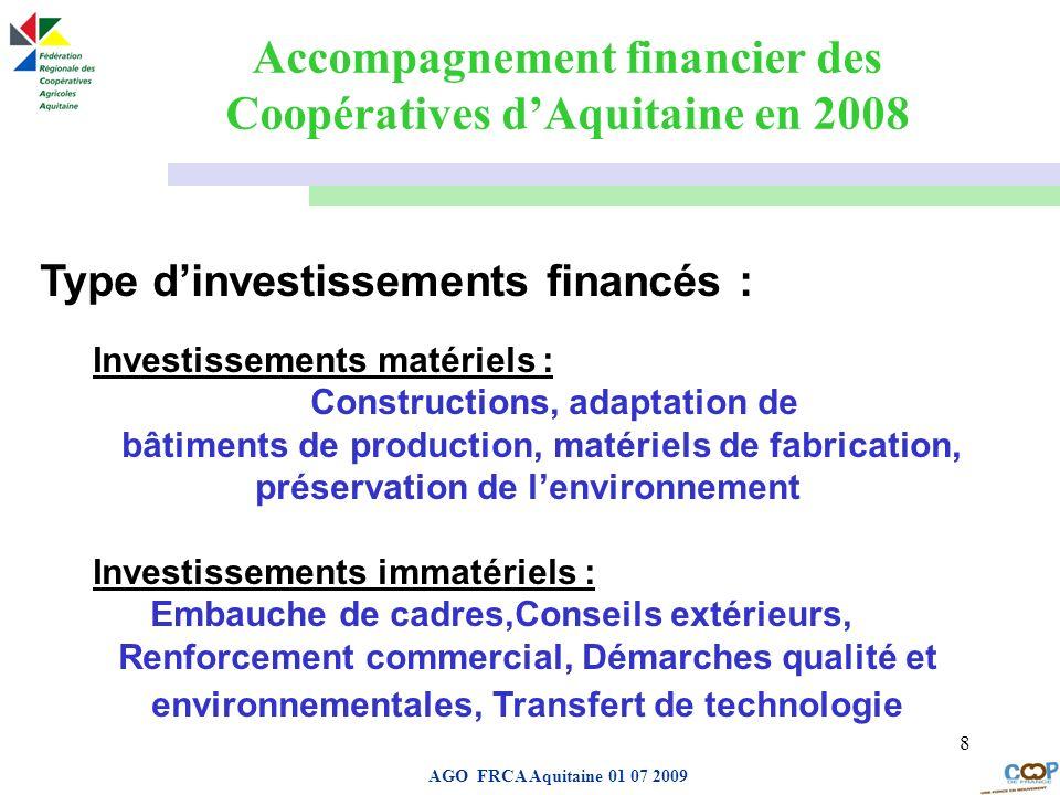 Accompagnement financier des Coopératives d'Aquitaine en 2008