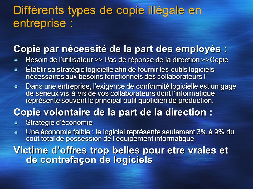 Différents types de copie illégale en entreprise :