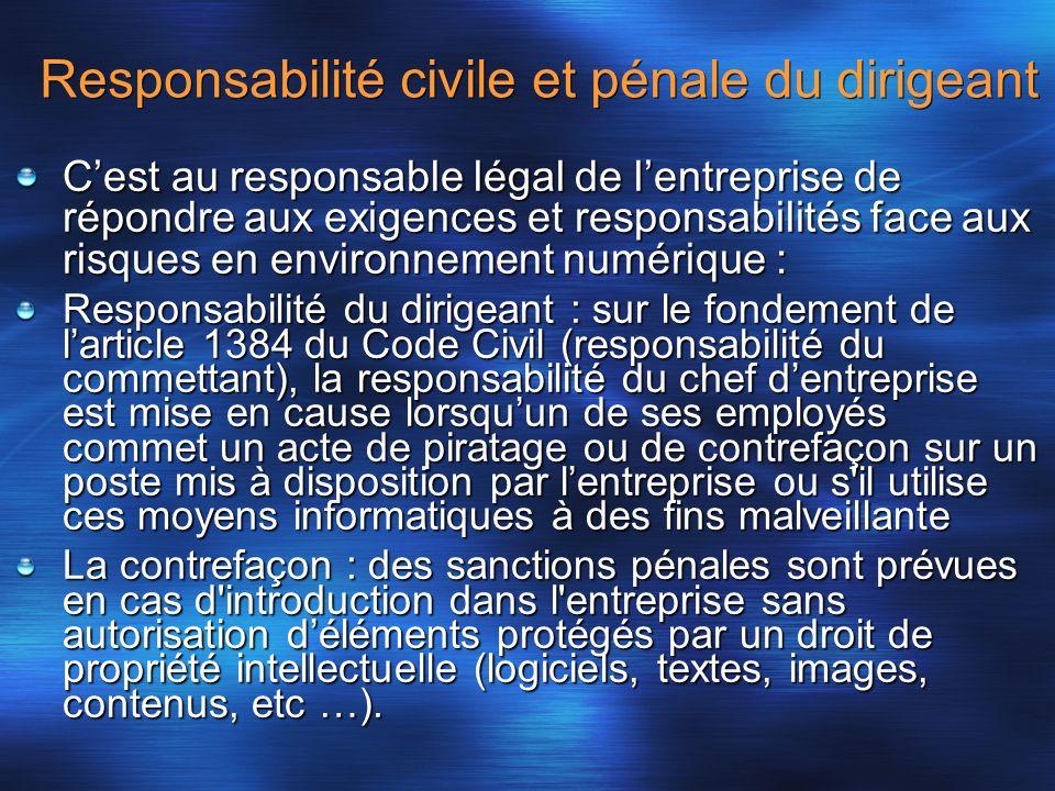 Responsabilité civile et pénale du dirigeant