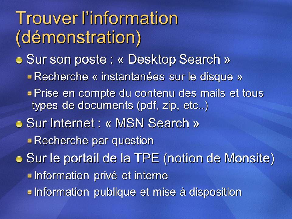 Trouver l'information (démonstration)