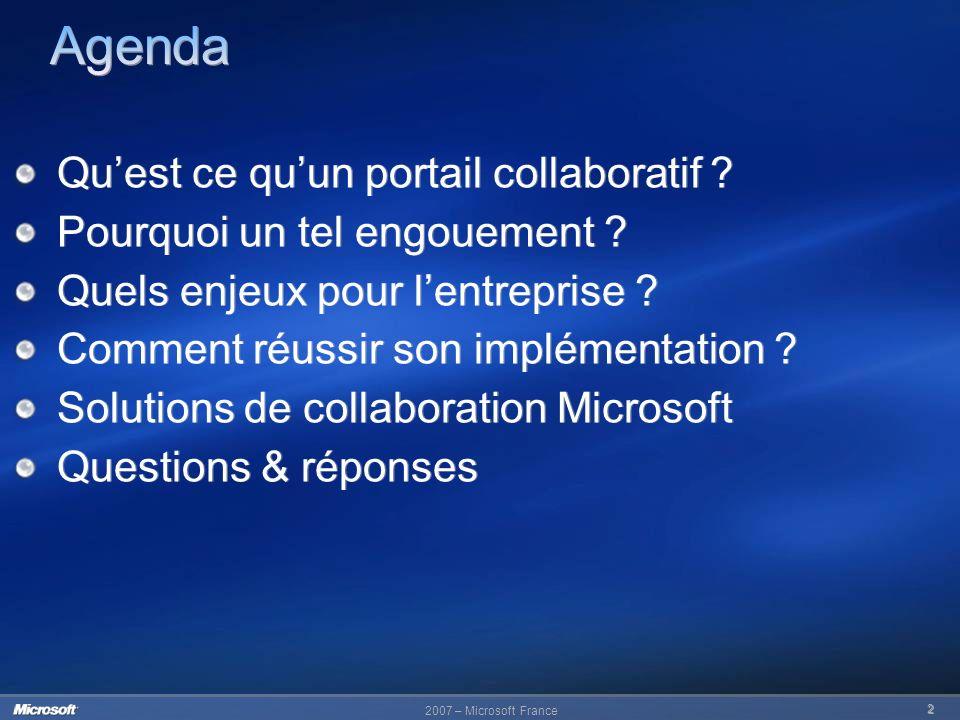Agenda Qu'est ce qu'un portail collaboratif