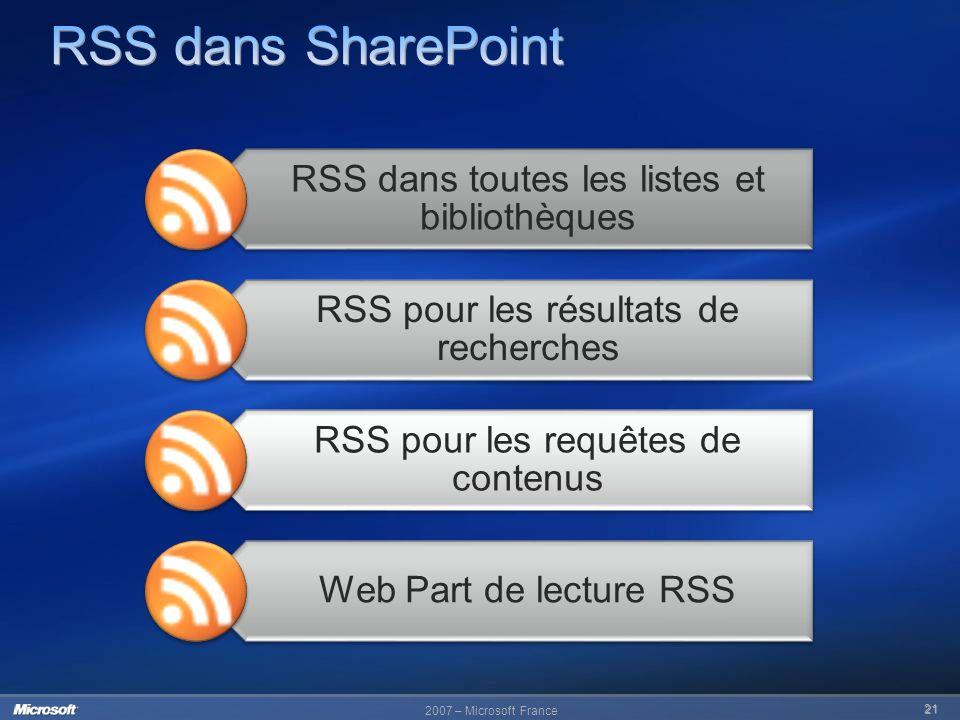 RSS dans SharePoint RSS dans toutes les listes et bibliothèques