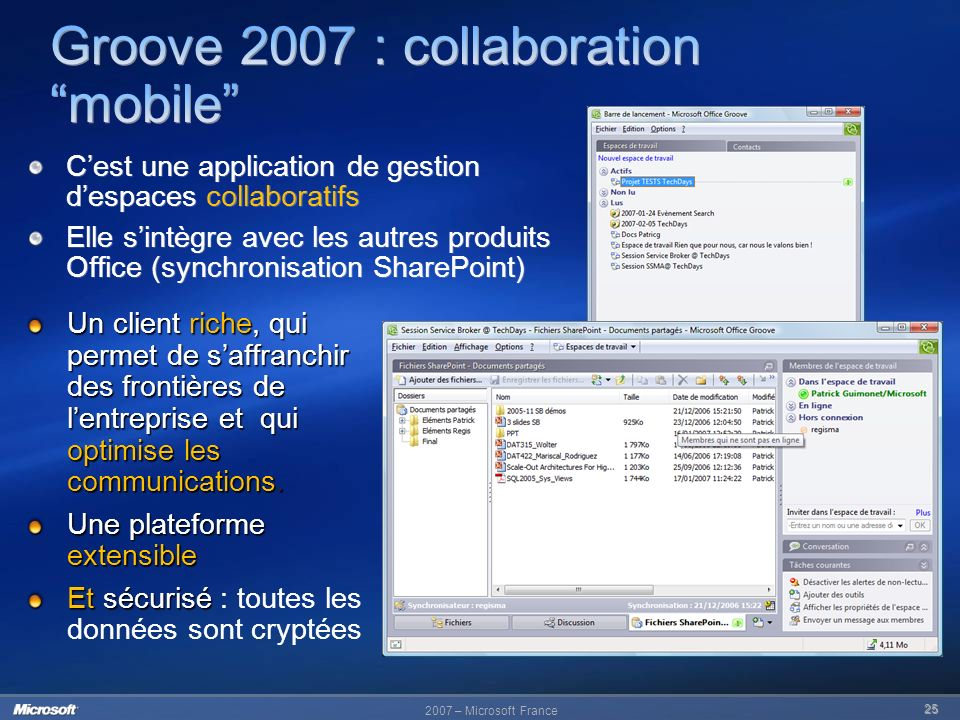Groove 2007 : collaboration mobile