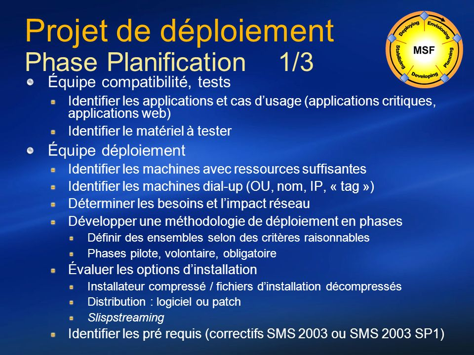 Projet de déploiement Phase Planification 1/3