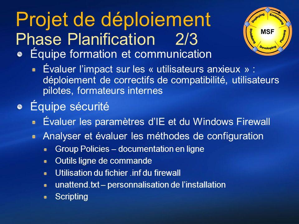 Projet de déploiement Phase Planification 2/3