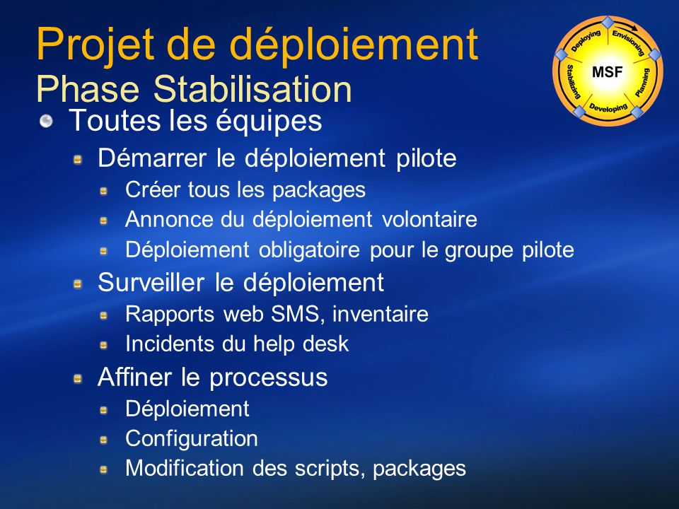 Projet de déploiement Phase Stabilisation