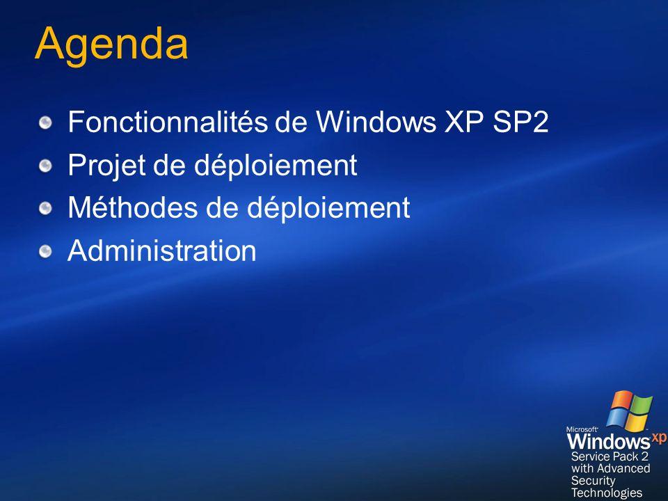 Agenda Fonctionnalités de Windows XP SP2 Projet de déploiement