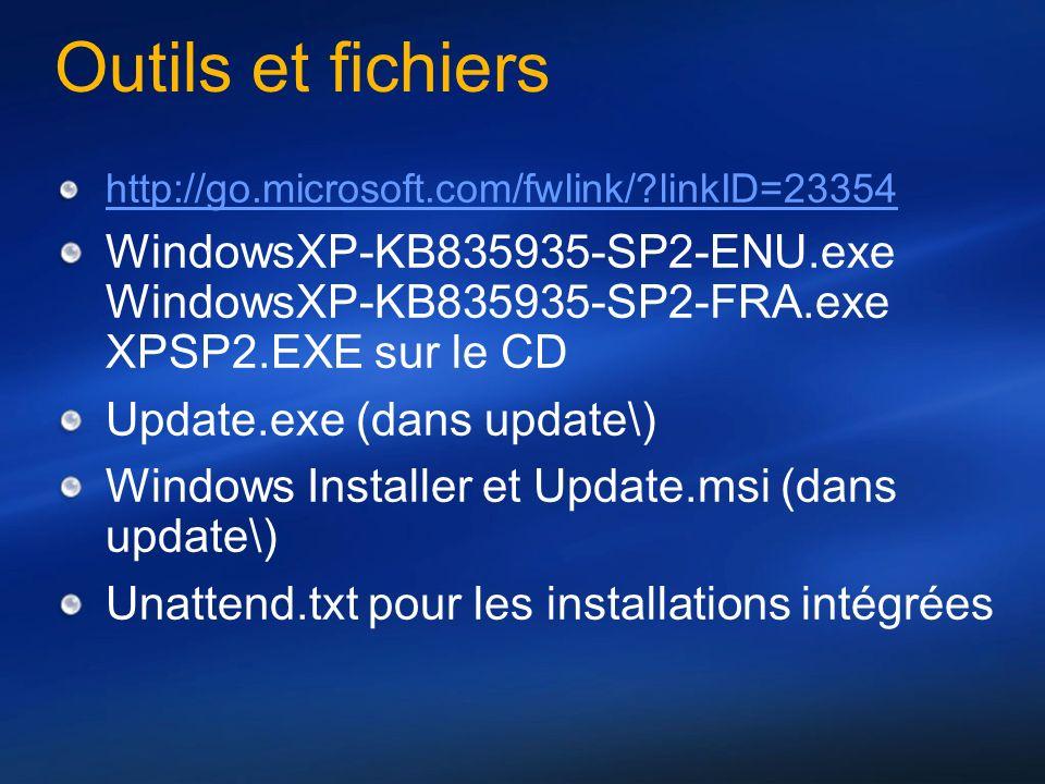 Outils et fichiers http://go.microsoft.com/fwlink/ linkID=23354. WindowsXP-KB835935-SP2-ENU.exe WindowsXP-KB835935-SP2-FRA.exe XPSP2.EXE sur le CD.