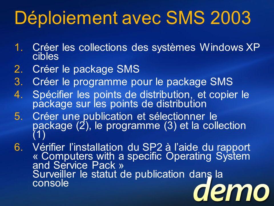 Déploiement avec SMS 2003 Créer les collections des systèmes Windows XP cibles. Créer le package SMS.