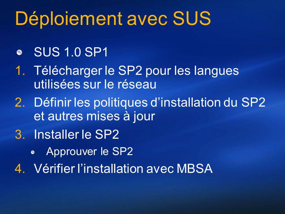 Déploiement avec SUS SUS 1.0 SP1