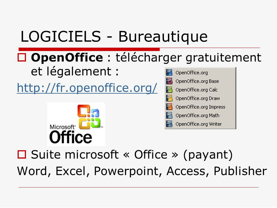 Os logiciels ppt video online t l charger - Telecharger open office gratuit en francais ...
