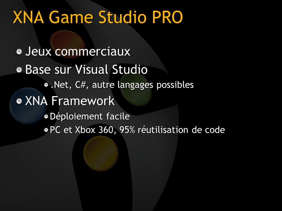 XNA Game Studio PRO Jeux commerciaux Base sur Visual Studio