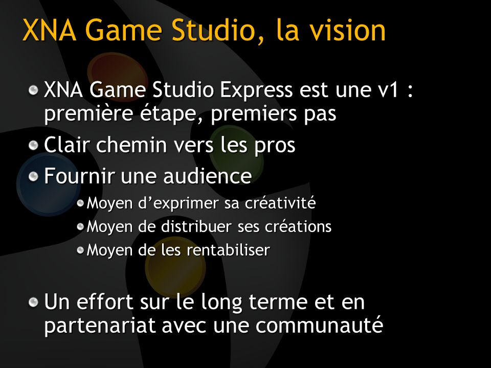 XNA Game Studio, la vision