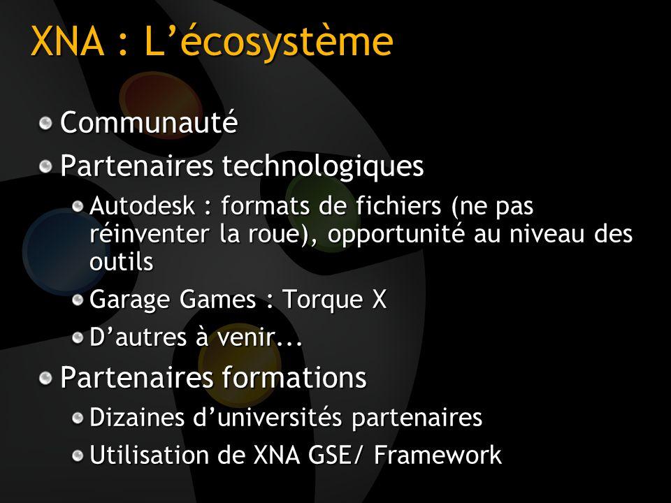 XNA : L'écosystème Communauté Partenaires technologiques
