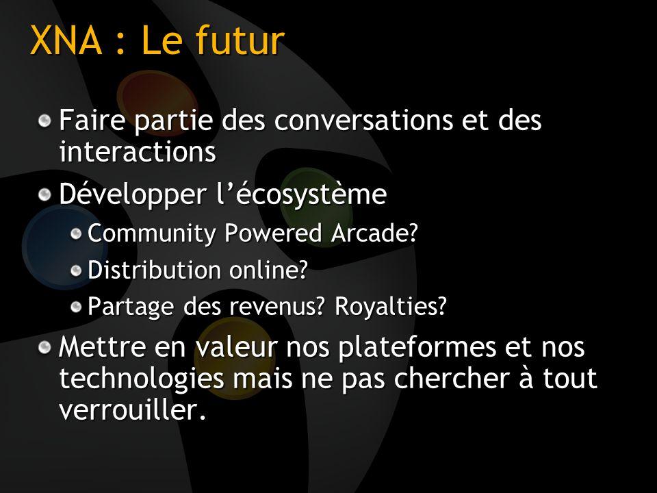 XNA : Le futur Faire partie des conversations et des interactions