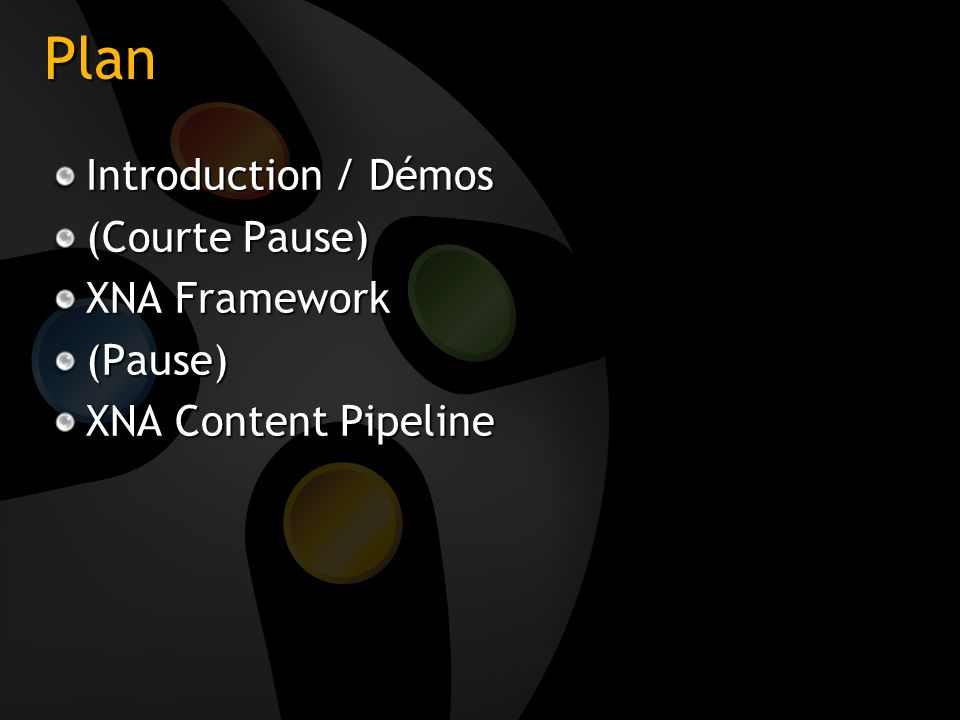 Plan Introduction / Démos (Courte Pause) XNA Framework (Pause)