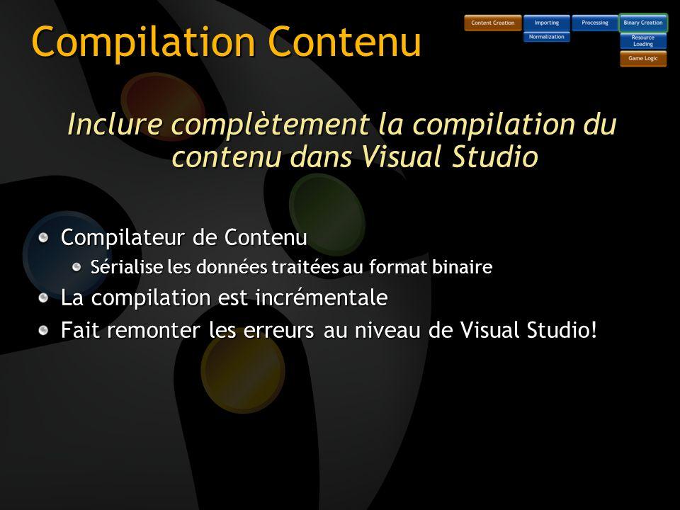 Inclure complètement la compilation du contenu dans Visual Studio