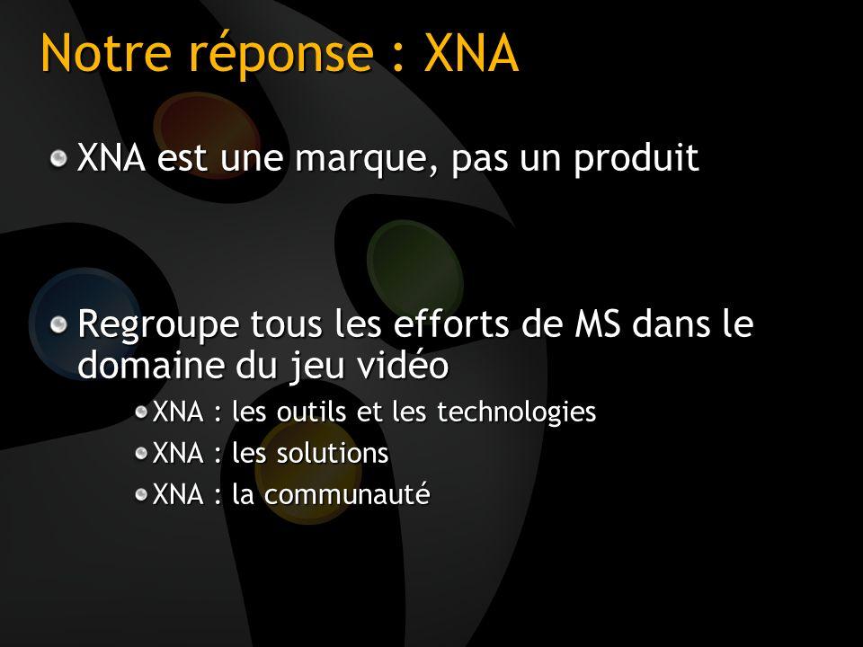Notre réponse : XNA XNA est une marque, pas un produit